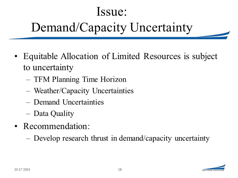 10/17/200118 Issue: Demand/Capacity Uncertainty Equitable Allocation of Limited Resources is subject to uncertainty –TFM Planning Time Horizon –Weather/Capacity Uncertainties –Demand Uncertainties –Data Quality Recommendation: –Develop research thrust in demand/capacity uncertainty