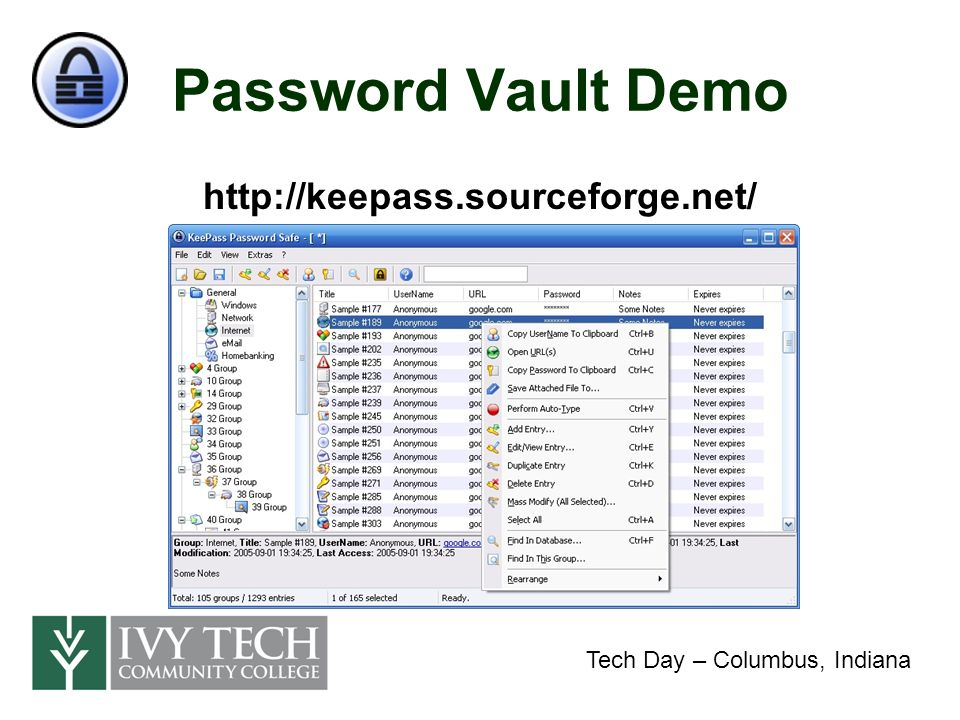 Data Encryption Data Confidentiality –No unauthorized disclosure of data –Protect data on network shares –Protect data on removable media & mobile devices Data Integrity –No unauthorized modification of data Tech Day – Columbus, Indiana