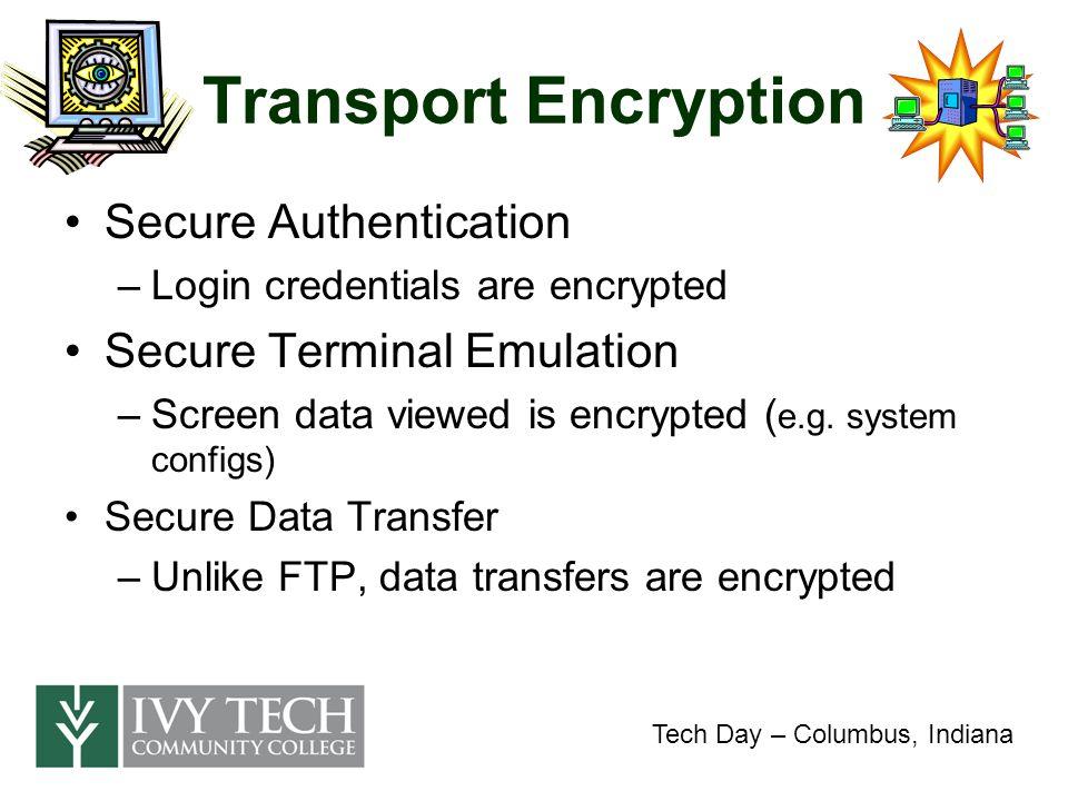Transport Encryption Demo Putty - http://www.chiark.greenend.org.uk/~sgtatham/putty/ Tech Day – Columbus, Indiana