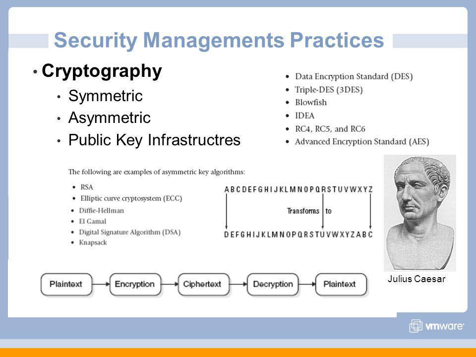 Security Managements Practices Cryptography Symmetric Asymmetric Public Key Infrastructres Julius Caesar