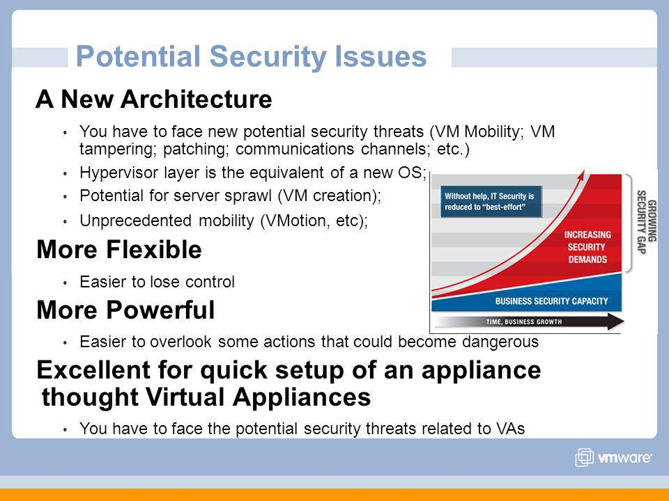 Potential Security Issues A New Architecture You have to face new potential security threats (VM Mobility; VM tampering; patching; communications channels; etc.) Hypervisor layer is the equivalent of a new OS; Potential for server sprawl (VM creation); Unprecedented mobility (VMotion, etc); More Flexible Easier to lose control More Powerful Easier to overlook some actions that could become dangerous Excellent for quick setup of an appliance thought Virtual Appliances You have to face the potential security threats related to VAs