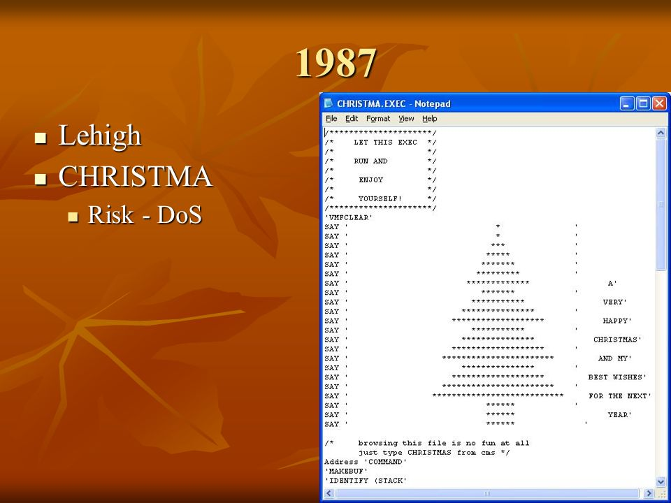 1987 Lehigh Lehigh CHRISTMA CHRISTMA Risk - DoS Risk - DoS