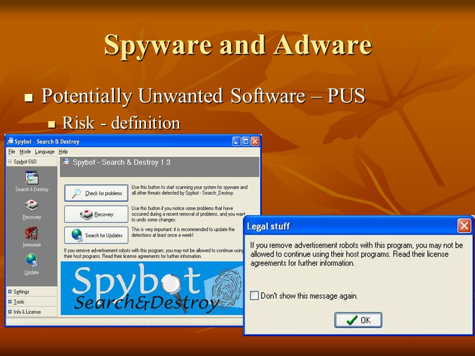 Spyware and Adware Potentially Unwanted Software – PUS Potentially Unwanted Software – PUS Risk - definition Risk - definition