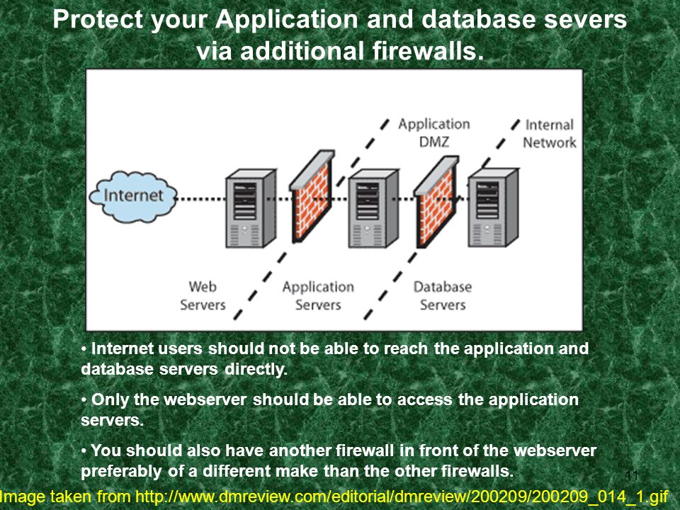 11 Protect your Application and database severs via additional firewalls.