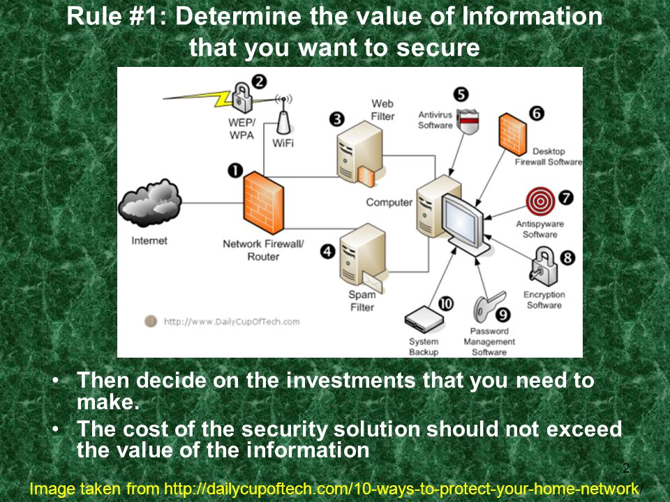2 Rule #1: Determine the value of Information that you want to secure Then decide on the investments that you need to make. The cost of the security s
