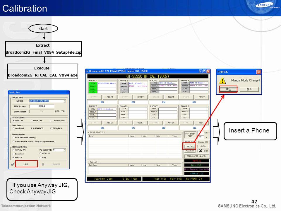 SAMSUNG Electronics Co., Ltd. 42 start Extract Broadcom2G_Final_V094_SetupFile.zip Execute Broadcom2G_RFCAL_CAL_V094.exe Calibration Insert a Phone If