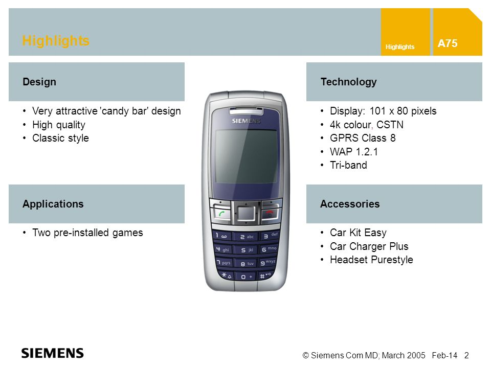 © Siemens Com MD; March 2005 Feb-14 2 Highlights A75 Car Kit Easy Car Charger Plus Headset Purestyle Very attractive candy bar design High quality Classic style DesignTechnology Display: 101 x 80 pixels 4k colour, CSTN GPRS Class 8 WAP 1.2.1 Tri-band Accessories Two pre-installed games Applications