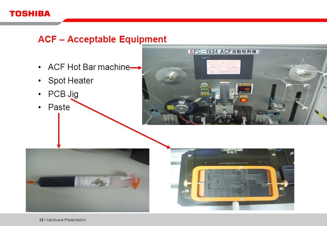 12 / Hardware Presentation 12 ACF – Acceptable Equipment ACF Hot Bar machine Spot Heater PCB Jig Paste