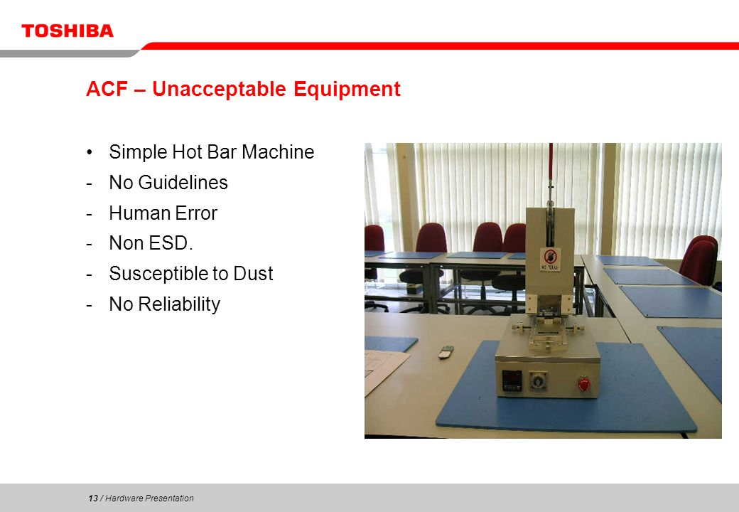 13 / Hardware Presentation 13 ACF – Unacceptable Equipment Simple Hot Bar Machine -No Guidelines -Human Error -Non ESD. -Susceptible to Dust -No Relia