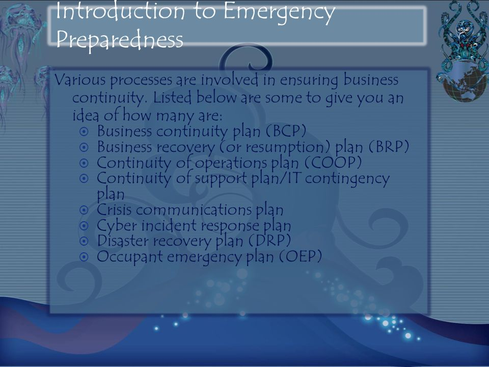 Introduction to Emergency Preparedness Various processes are involved in ensuring business continuity. Listed below are some to give you an idea of ho