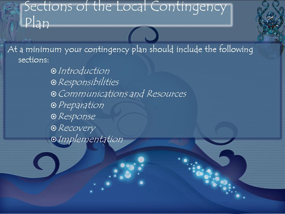 At a minimum your contingency plan should include the following sections: Introduction Responsibilities Communications and Resources Preparation Response Recovery Implementation Sections of the Local Contingency Plan