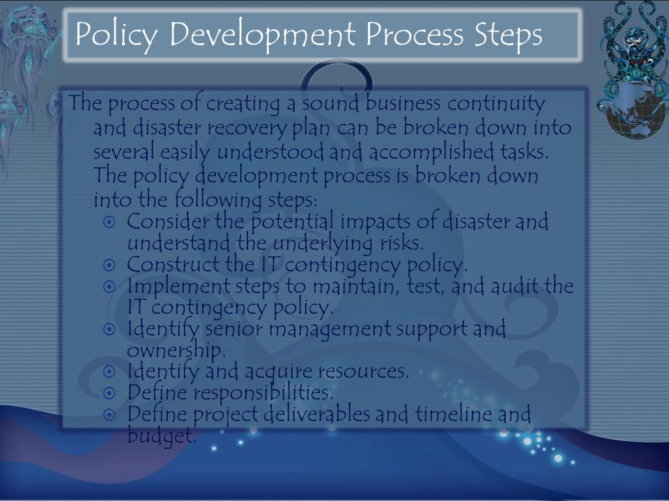 Policy Development Process Steps The process of creating a sound business continuity and disaster recovery plan can be broken down into several easily understood and accomplished tasks.