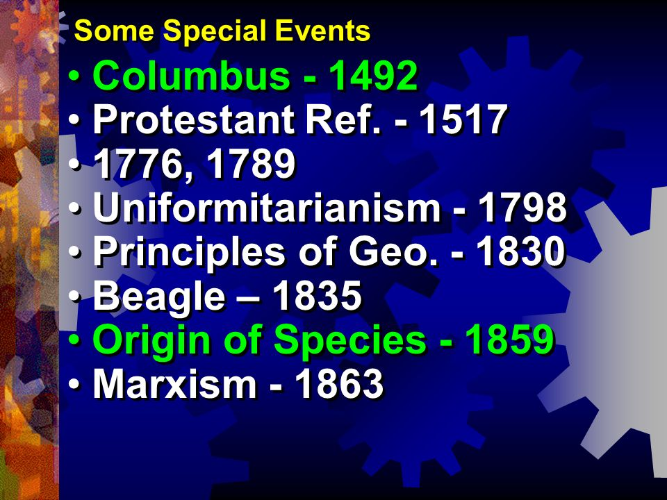 Some Special Events Columbus - 1492 Protestant Ref. - 1517 1776, 1789 Uniformitarianism - 1798 Principles of Geo. - 1830 Beagle – 1835 Origin of Speci
