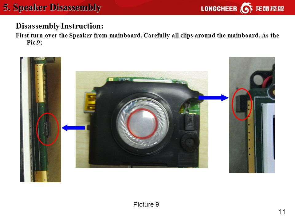 11 Disassembly Instruction: First turn over the Speaker from mainboard.