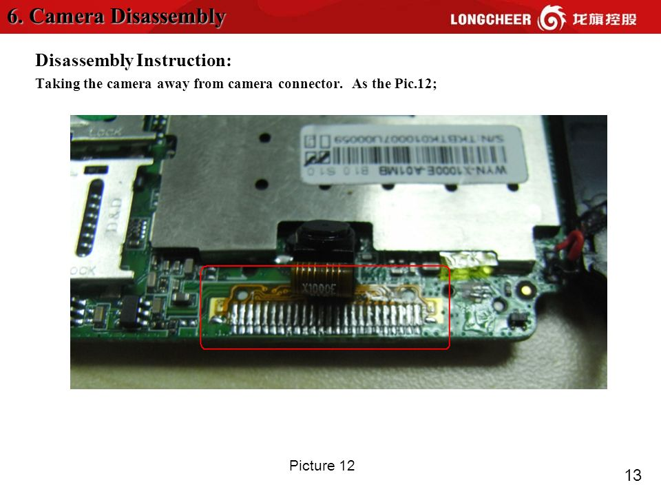 13 Disassembly Instruction: Taking the camera away from camera connector. As the Pic.12; 6. Camera Disassembly Picture 12