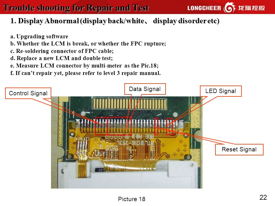 22 Trouble shooting for Repair and Test 1. Display Abnormal (display back/white display disorder etc) a. Upgrading software b. Whether the LCM is brea