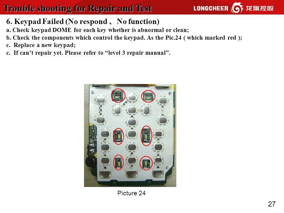 27 Trouble shooting for Repair and Test Picture 24 6. Keypad Failed (No respond No function) a. Check keypad DOME for each key whether is abnormal or