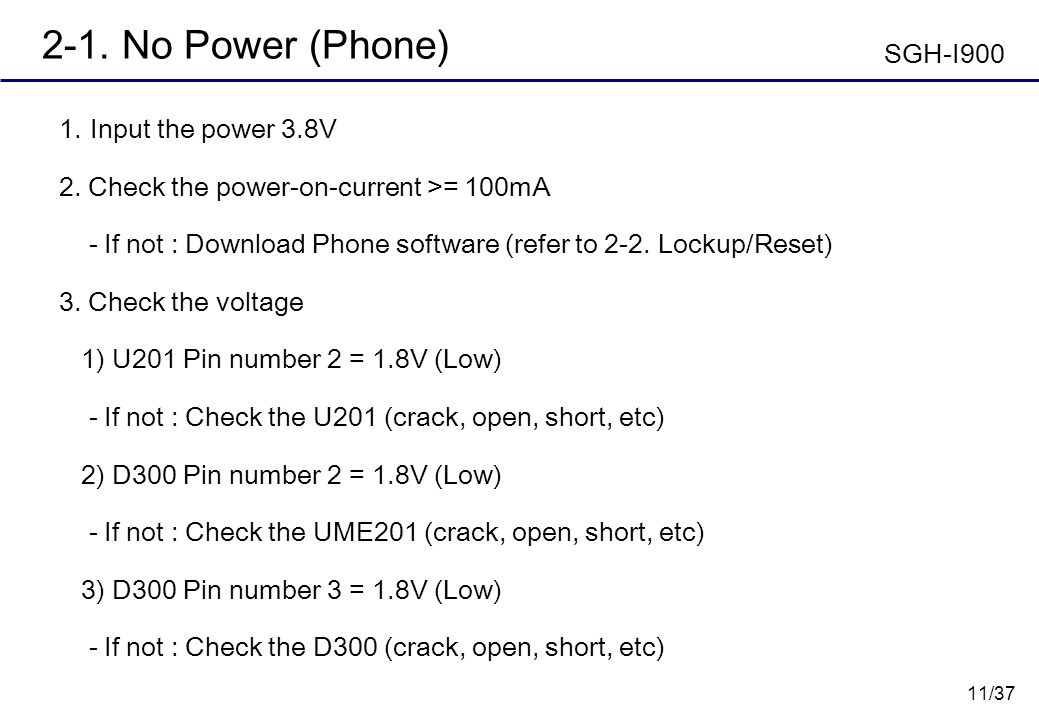 11/37 2-1. No Power (Phone) Input the power 3.8V 2. Check the power-on-current >= 100mA - If not : Download Phone software (refer to 2-2. Lockup/Reset