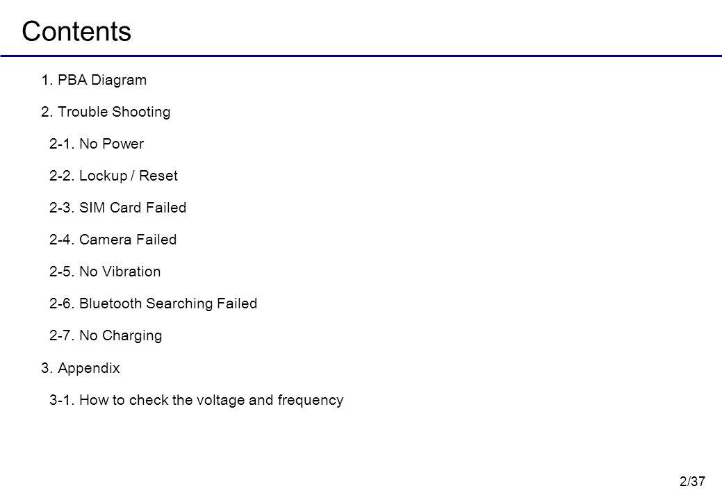 2/37 Contents 1. PBA Diagram 2. Trouble Shooting 2-1. No Power 2-2. Lockup / Reset 2-3. SIM Card Failed 2-4. Camera Failed 2-5. No Vibration 2-6. Blue