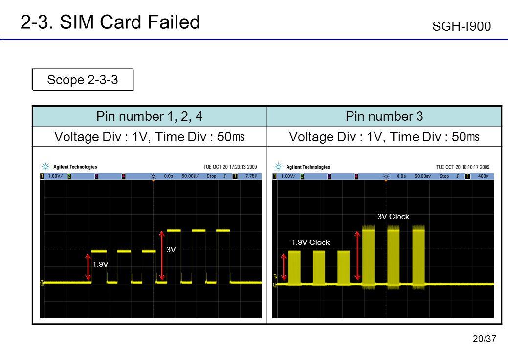 20/37 2-3. SIM Card Failed Pin number 1, 2, 4Pin number 3 Voltage Div : 1V, Time Div : 50 Scope 2-3-3 3V 1.9V 3V Clock 1.9V Clock SGH-I900