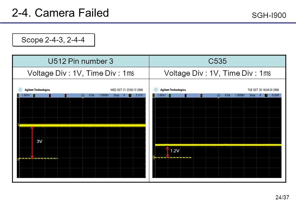 24/37 2-4. Camera Failed U512 Pin number 3C535 Voltage Div : 1V, Time Div : 1 Scope 2-4-3, 2-4-4 SGH-I900 1.2V 3V