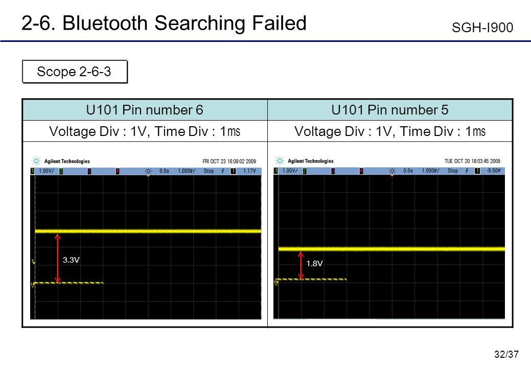 32/37 2-6. Bluetooth Searching Failed U101 Pin number 6U101 Pin number 5 Voltage Div : 1V, Time Div : 1 Scope 2-6-3 SGH-I900 1.8V 3.3V