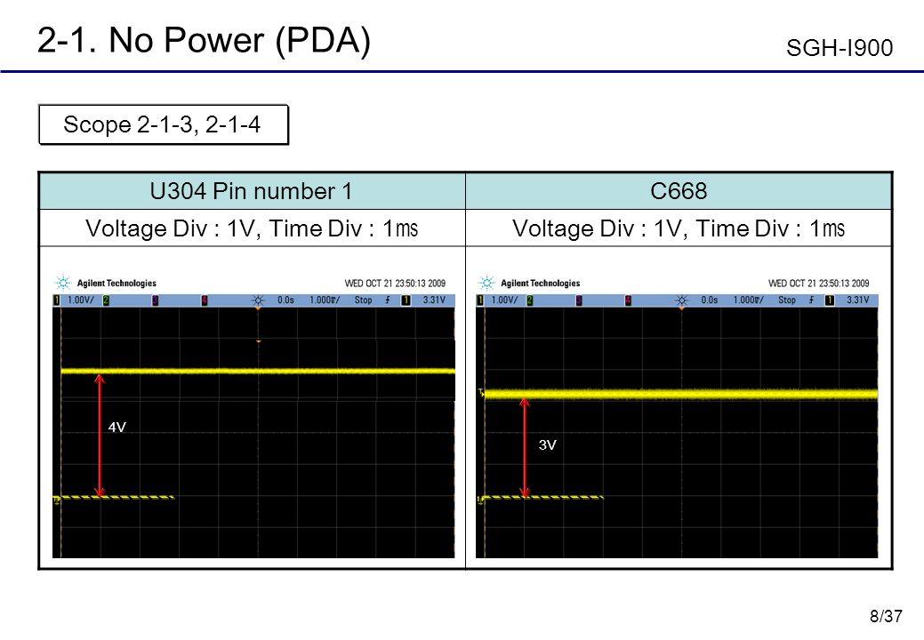 8/37 2-1. No Power (PDA) U304 Pin number 1C668 Voltage Div : 1V, Time Div : 1 Scope 2-1-3, 2-1-4 SGH-I900 3V 4V