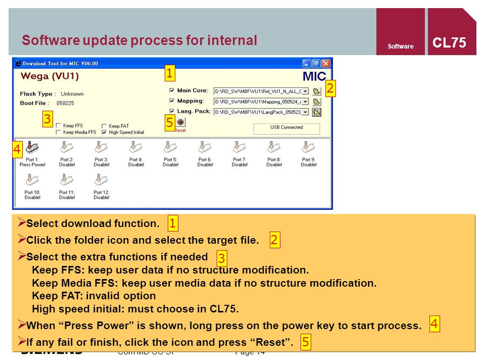 Com MD CC SF Page 14 Software update process for internal Software CL75 Select download function.