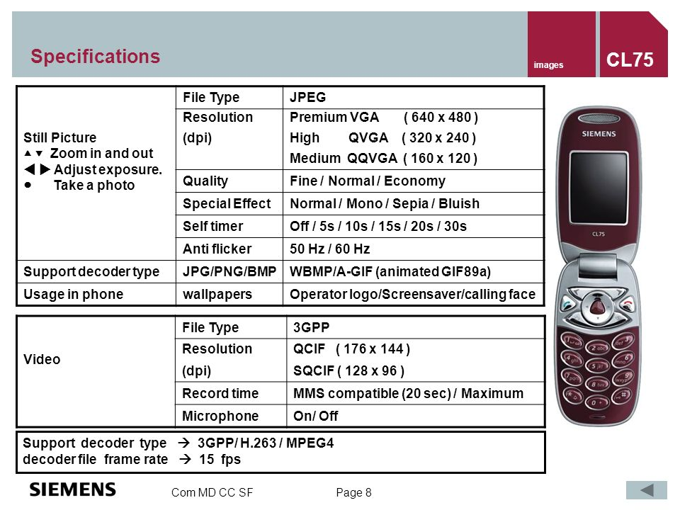 Com MD CC SF Page 8 Specifications Still Picture Zoom in and out Adjust exposure.