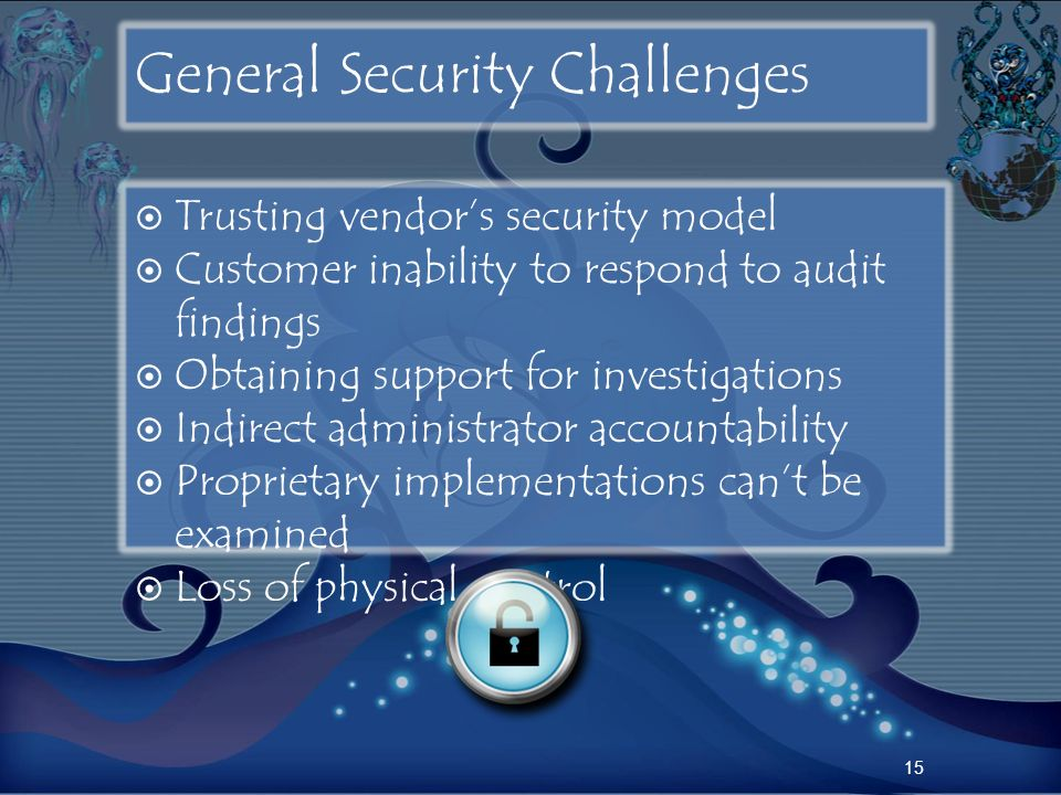 General Security Challenges Trusting vendors security model Customer inability to respond to audit findings Obtaining support for investigations Indir