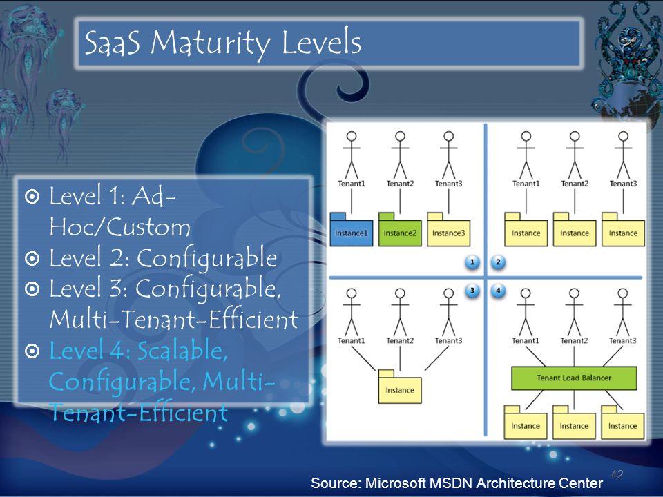 SaaS Maturity Levels Level 1: Ad- Hoc/Custom Level 2: Configurable Level 3: Configurable, Multi-Tenant-Efficient Level 4: Scalable, Configurable, Mult