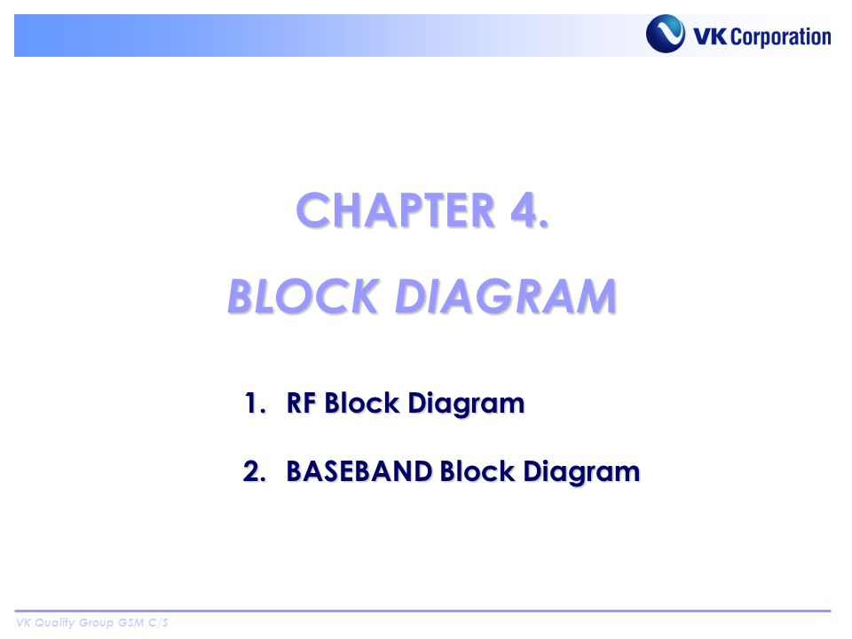 VK Quality Group GSM C/S 1.RF Block Diagram 2.BASEBAND Block Diagram CHAPTER 4. BLOCK DIAGRAM