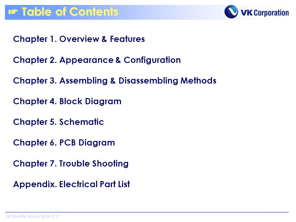 VK Quality Group GSM C/S Table of Contents Table of Contents Chapter 1.