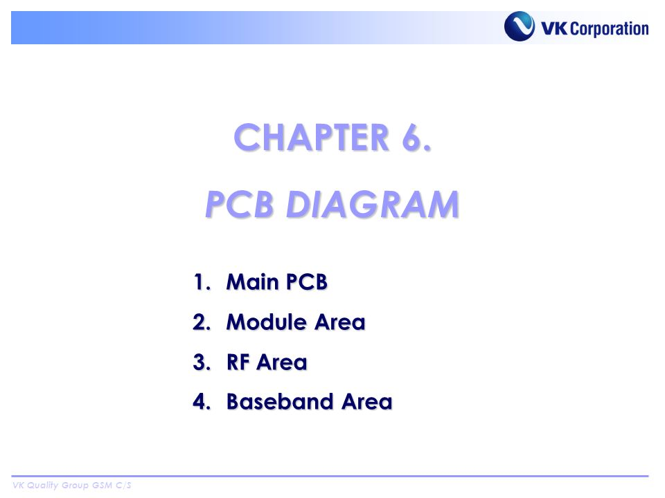 VK Quality Group GSM C/S 1.Main PCB 2.Module Area 3.RF Area 4.Baseband Area CHAPTER 6. PCB DIAGRAM