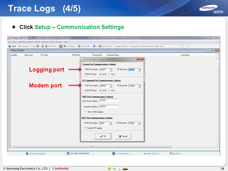 14 Trace Logs (4/5) Click Setup – Communication Settings Logging port Modem port