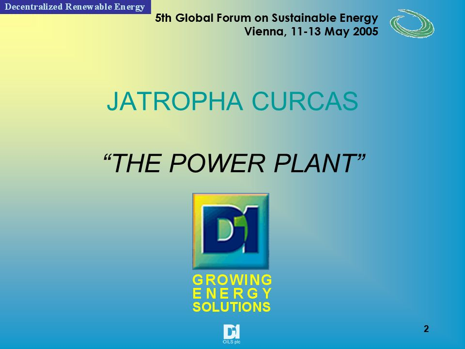 22 5th Global Forum on Sustainable Energy Vienna, 11-13 May 2005 22 5th Global Forum on Sustainable Energy Vienna, 11-13 May 2005 Factors effecting the deterioration of Jatropha seeds Seeds Physical Chemical Biological Storage container Place of storage Method of storage Seed chemistry Presence of natural anti oxidants Seed moisture content Micobial load Type of microorganisms