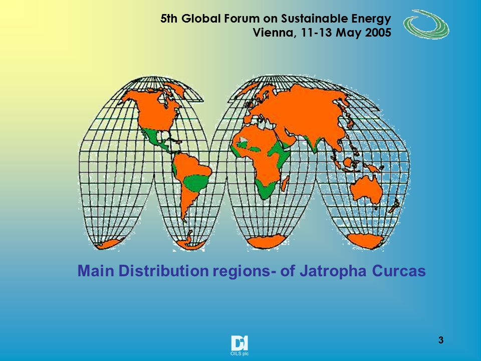 3 5th Global Forum on Sustainable Energy Vienna, 11-13 May 2005 3 Main Distribution regions- of Jatropha Curcas