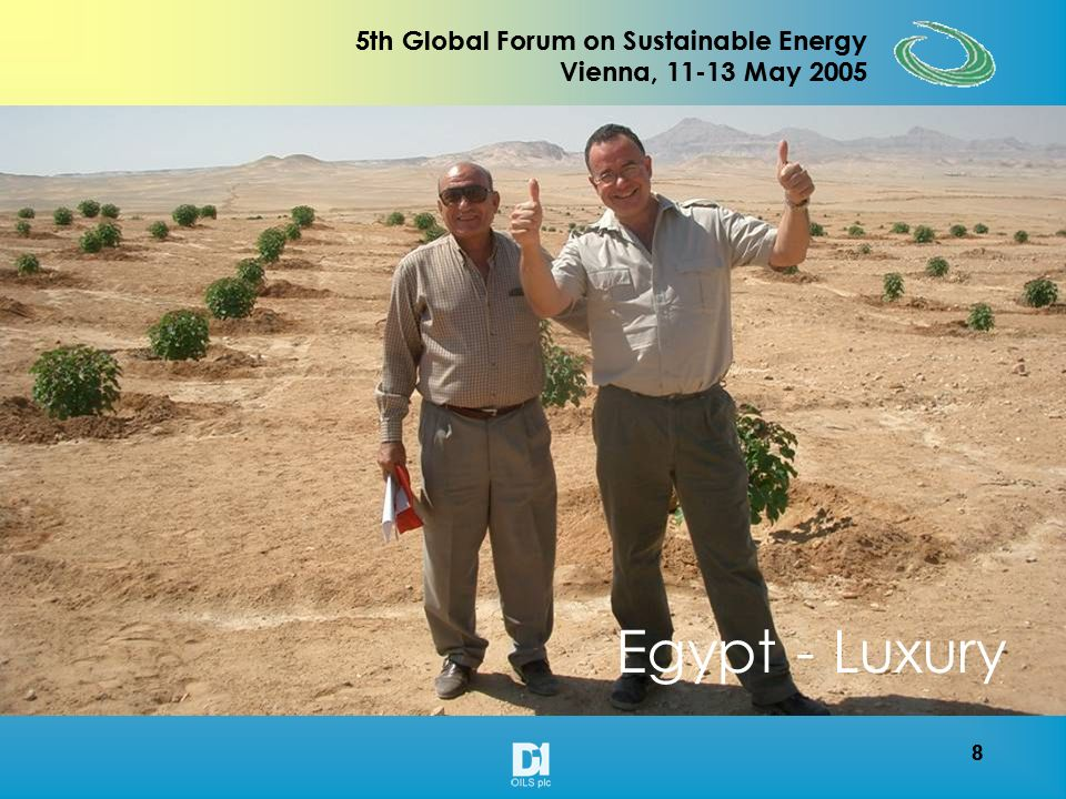 8 5th Global Forum on Sustainable Energy Vienna, 11-13 May 2005 8 Egypt - Luxury