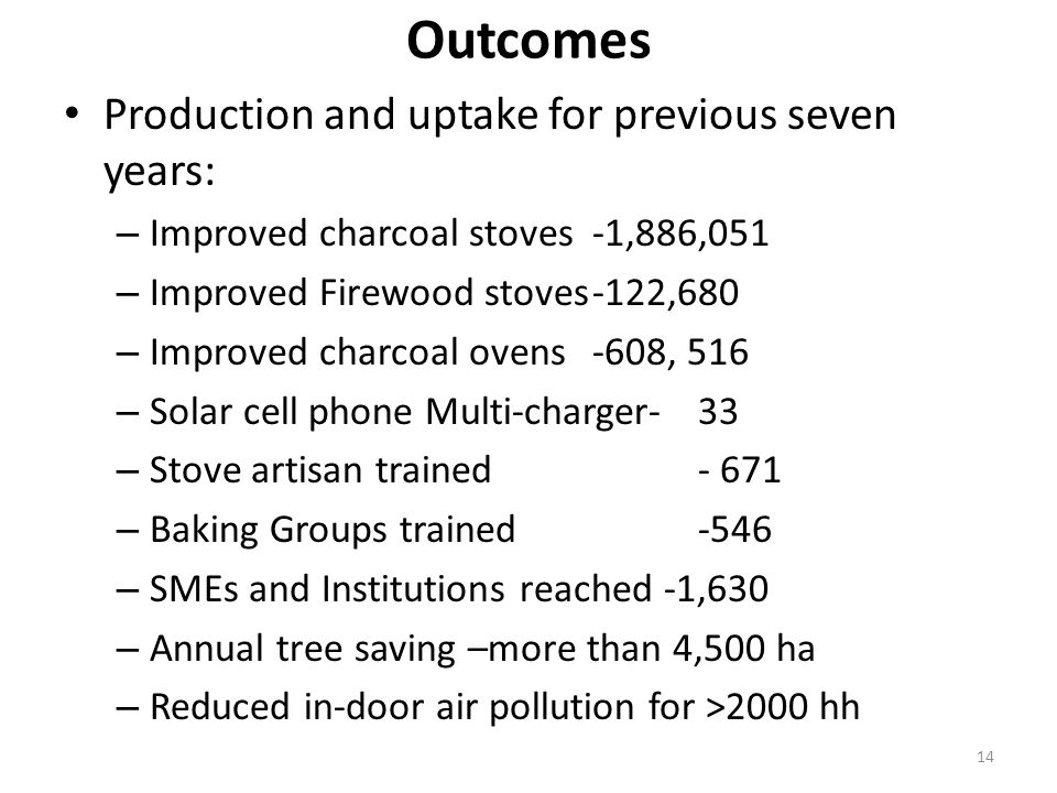 14 Outcomes Production and uptake for previous seven years: – Improved charcoal stoves -1,886,051 – Improved Firewood stoves-122,680 – Improved charcoal ovens -608, 516 – Solar cell phone Multi-charger-33 – Stove artisan trained – Baking Groups trained-546 – SMEs and Institutions reached -1,630 – Annual tree saving –more than 4,500 ha – Reduced in-door air pollution for >2000 hh