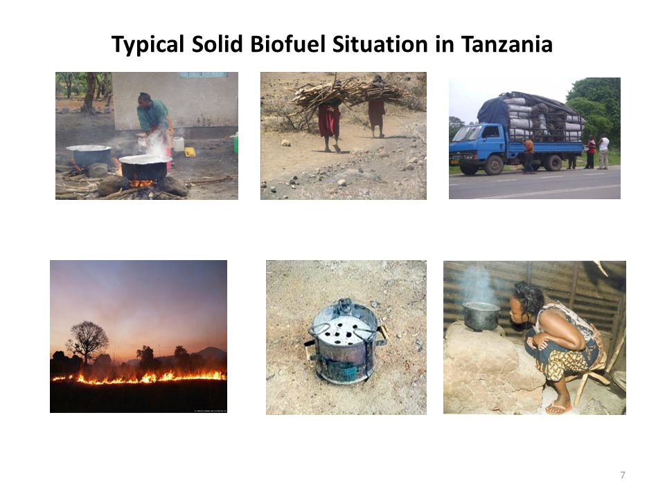 8 How to Reverse the Situation Tanzania needs to recognize the important role of sold biofuels in households, institutions and SMEs of cooking and provision of process heat in rural industries.