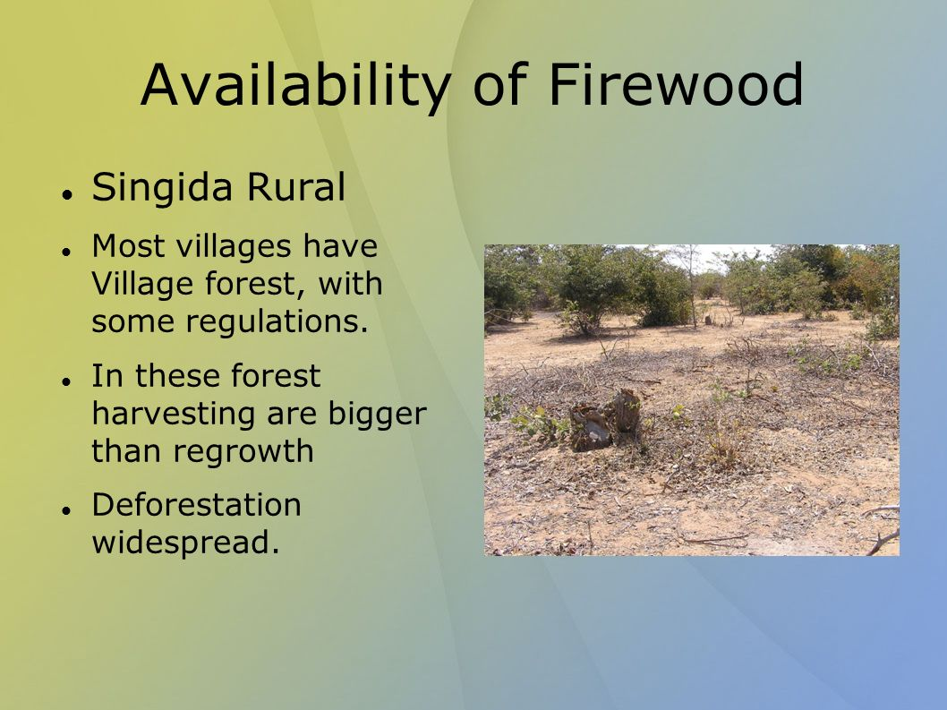 Availability of Firewood Singida Rural Most villages have Village forest, with some regulations.