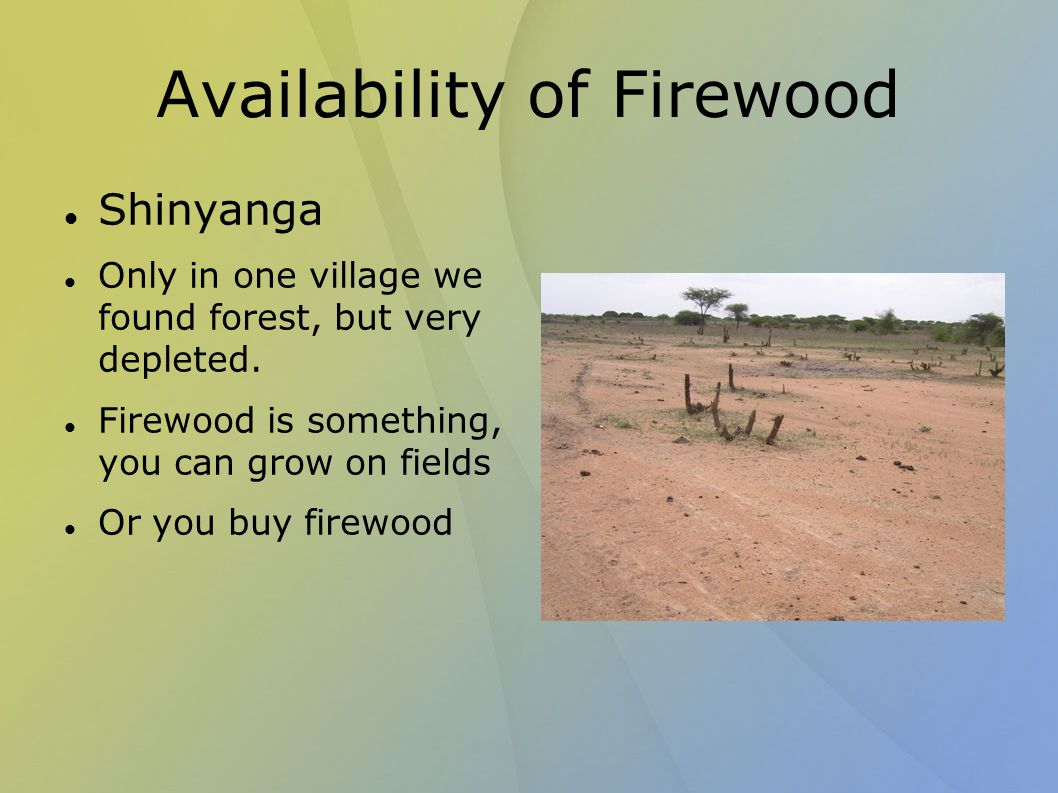 Availability of Firewood Shinyanga Only in one village we found forest, but very depleted.
