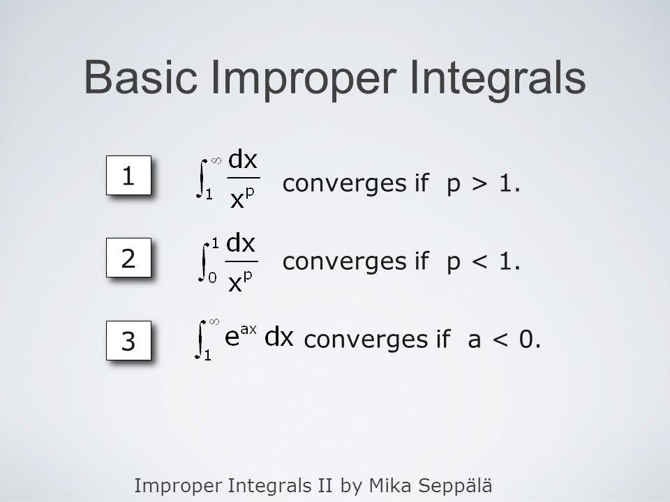Improper Integrals II by Mika Seppälä Basic Improper Integrals 1 1 converges if p > 1.