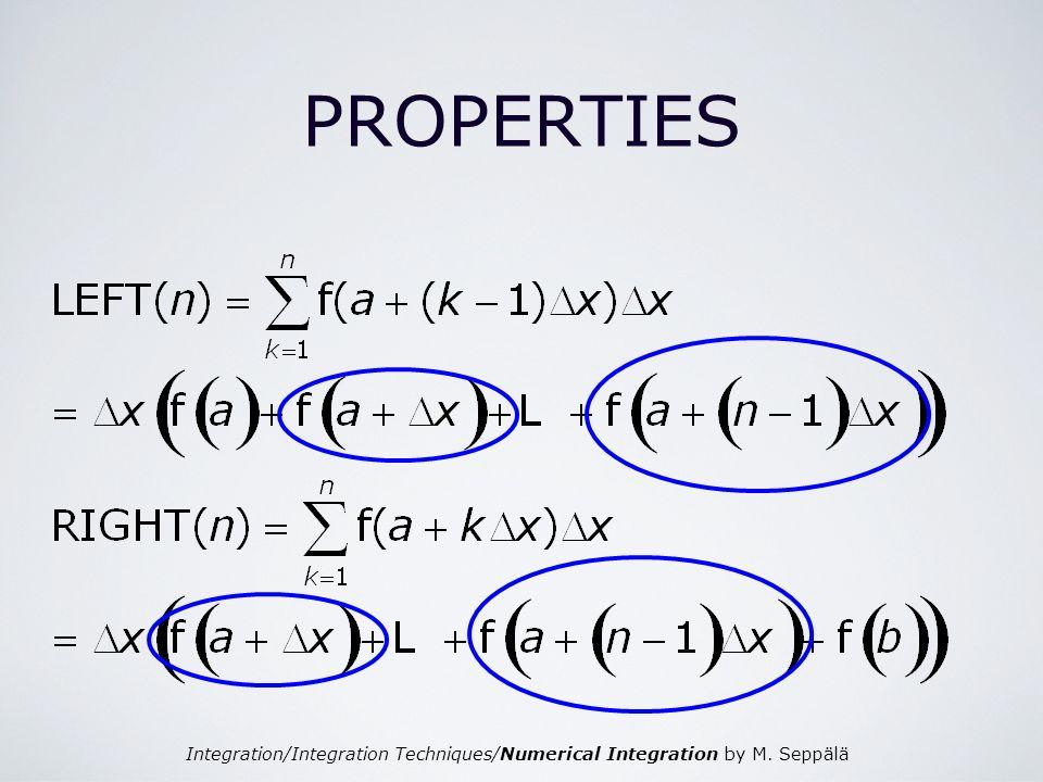 Integration/Integration Techniques/Numerical Integration by M. Seppälä PROPERTIES