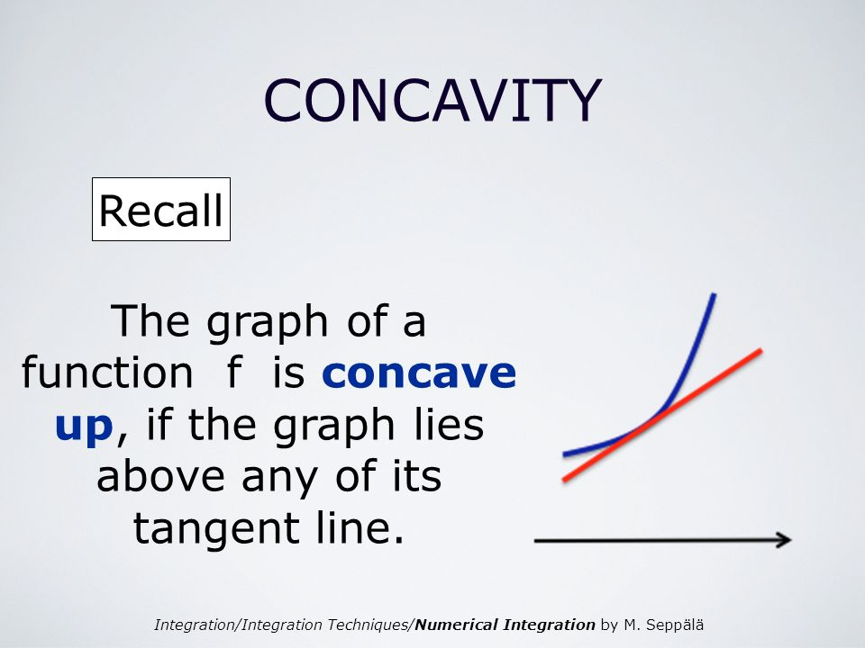Integration/Integration Techniques/Numerical Integration by M. Seppälä CONCAVITY Recall The graph of a function f is concave up, if the graph lies abo