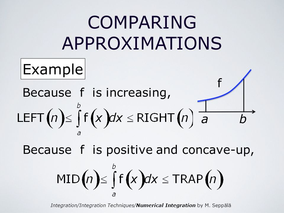 Integration/Integration Techniques/Numerical Integration by M. Seppälä COMPARING APPROXIMATIONS Example ab f Because f is increasing, Because f is pos