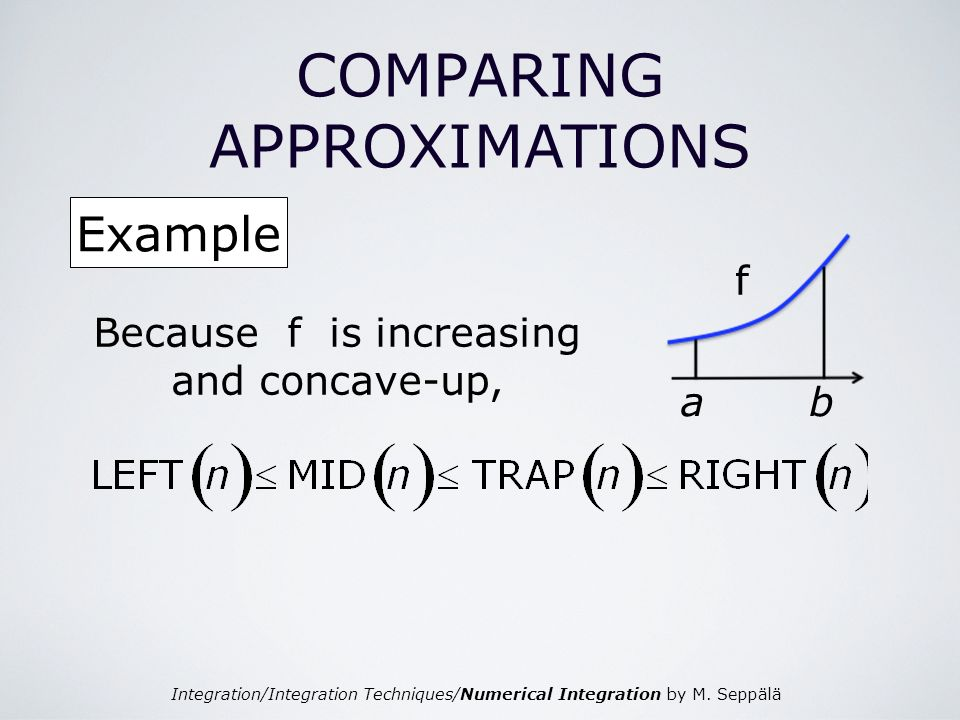 Integration/Integration Techniques/Numerical Integration by M. Seppälä COMPARING APPROXIMATIONS Example ab f Because f is increasing and concave-up,