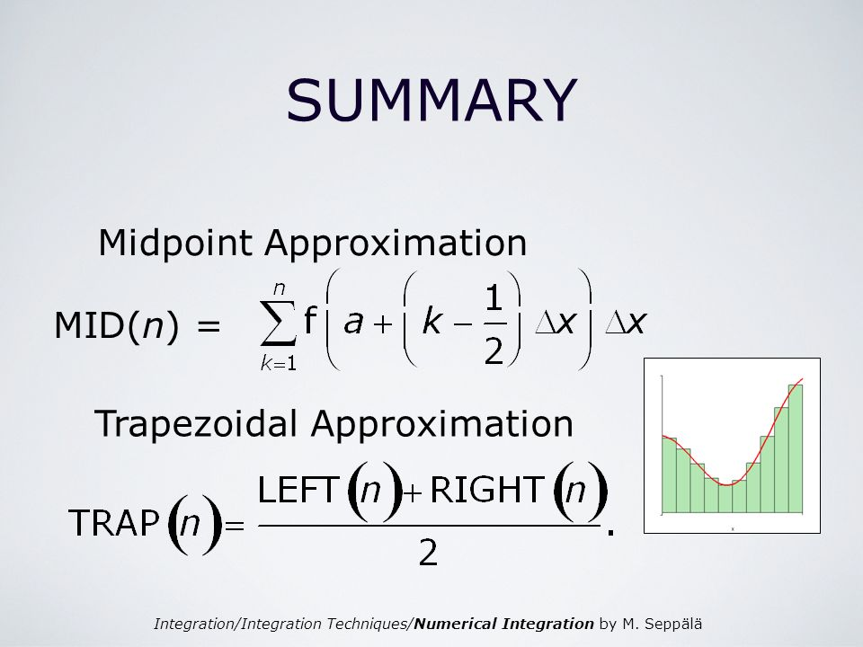 Integration/Integration Techniques/Numerical Integration by M. Seppälä SUMMARY Midpoint Approximation MID(n) = Trapezoidal Approximation
