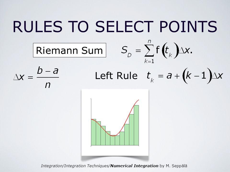 Integration/Integration Techniques/Numerical Integration by M. Seppälä Riemann Sum RULES TO SELECT POINTS Left Rule