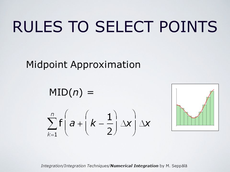 Integration/Integration Techniques/Numerical Integration by M. Seppälä RULES TO SELECT POINTS Midpoint Approximation MID(n) =